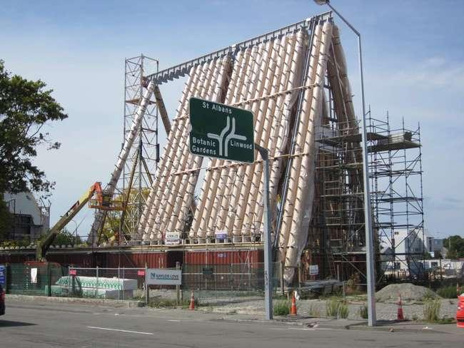 Catedral de cartón Shigeru Ban construcción