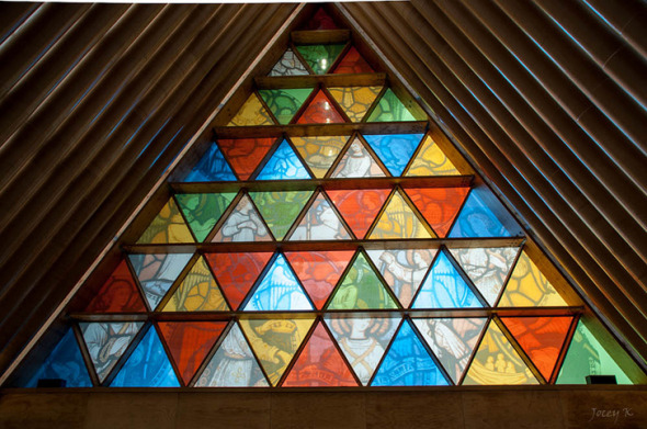 Catedral de cartón Shigeru Ban vidriera