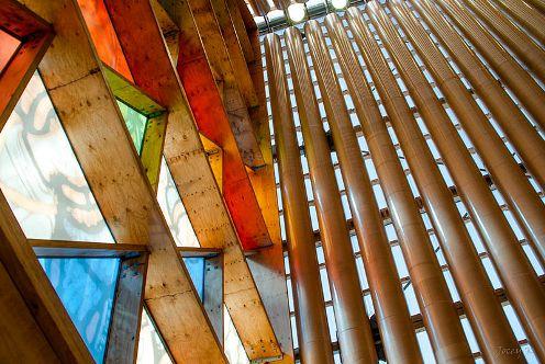 Catedral de cartón Shigeru Ban detalle