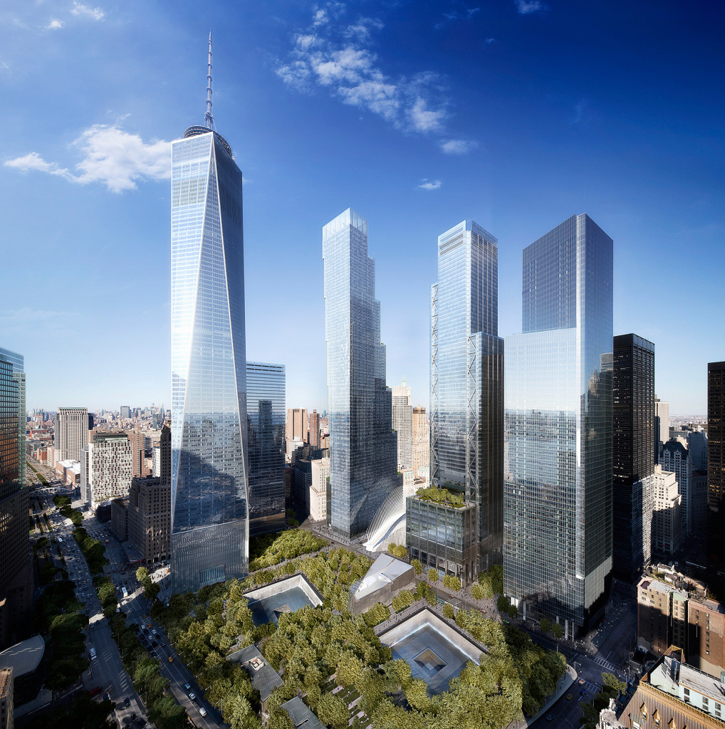 In the World Trade Center redevelopment's master plan, laid out more than a decade ago, architect Daniel Libeskind envisioned a semicircle of gradually taller buildings that would crescendo with One World Trade Center (far left), which has a spire that