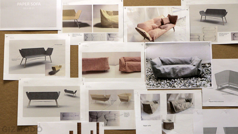IKEA muebles papel bocetos sofá