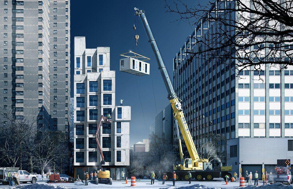Bloque de apartamenteos prefabricado en Nueva York