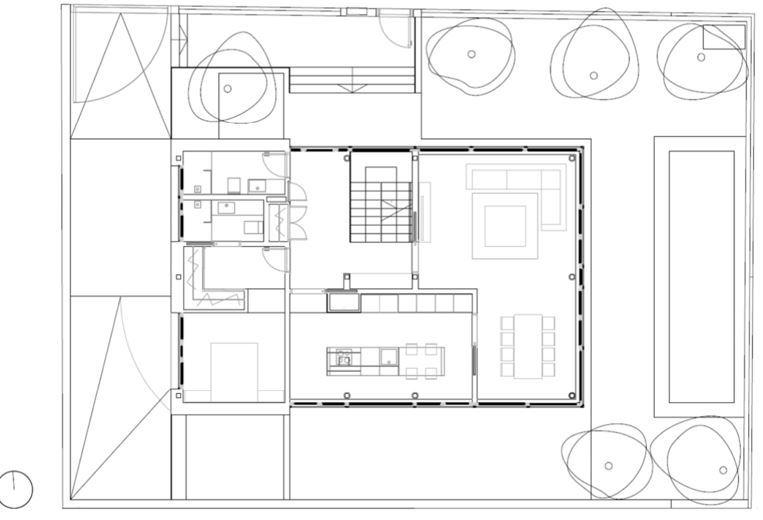 Plano de planta baja de casa titania