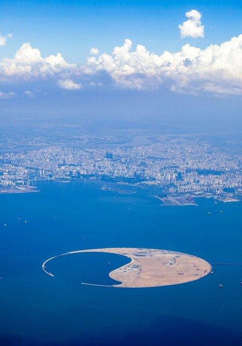 Imagen de la isla en la bahía de Haikou