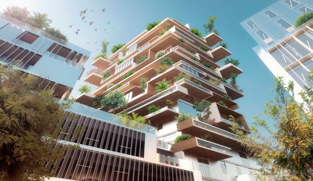 Torre de madera con formas muy modernas