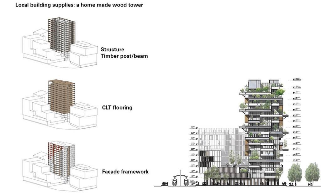 Esquema de la estructura de madera del rascacielos
