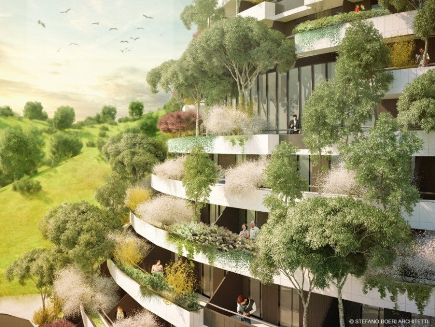 Hotel bosque vertical terraza