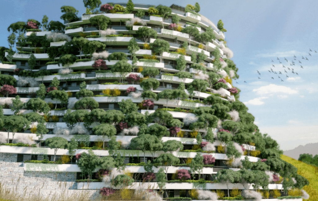 Imagen del edificio con vegetación por todas partes, en todas las plantas