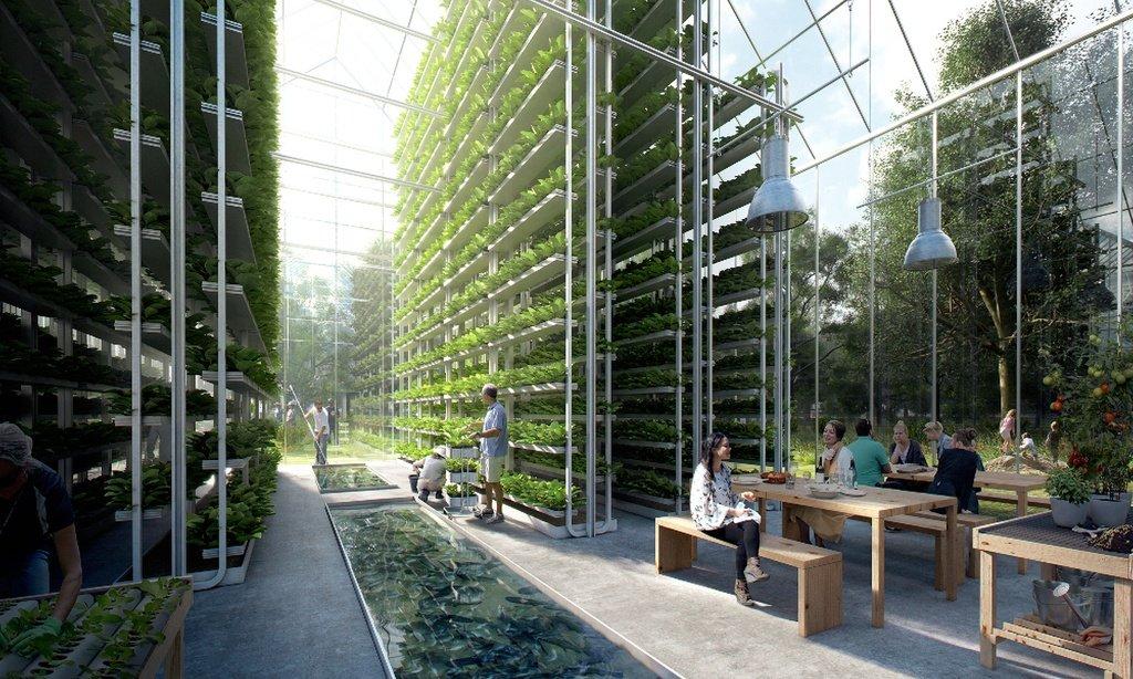 Imagen renderizada de los huertos urbanos verticales