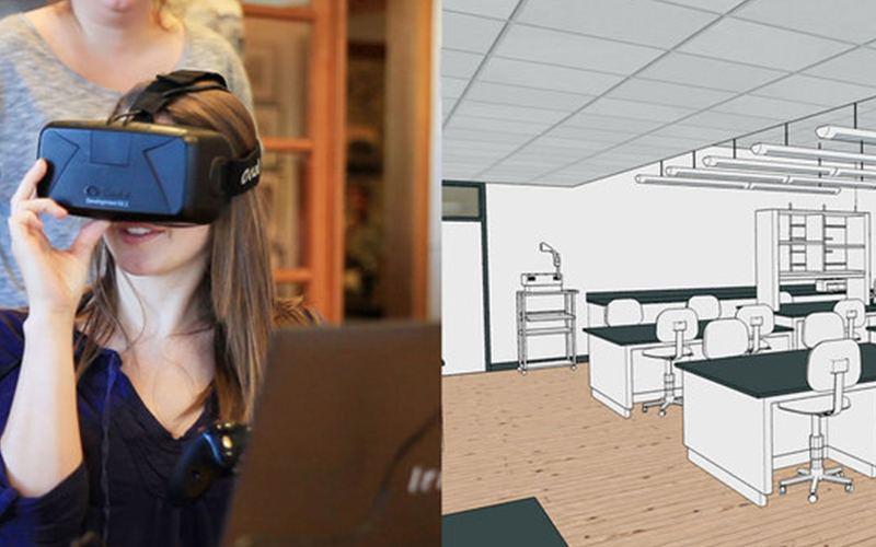 Mujer con gafas VR e imagen de lo que ven