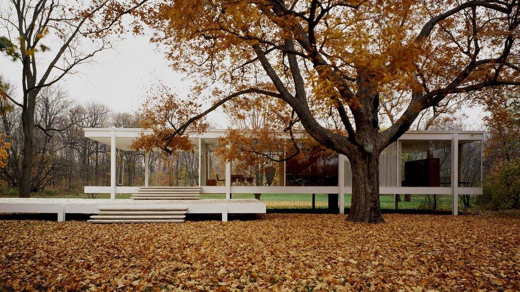 La casa por fuera, enterrada en hojas caidas
