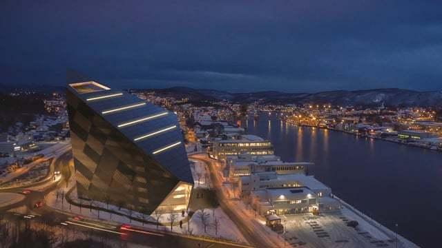 Vista aérea del edificio en el puerto