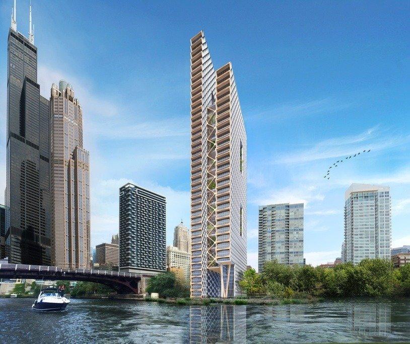 Vista general del edificio en la ribera del río
