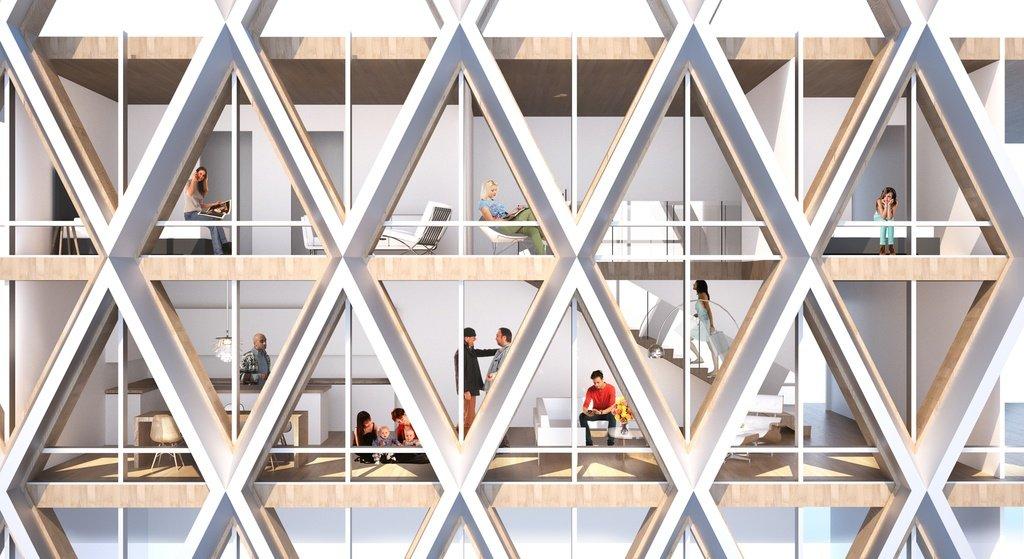 Fachada de madera y vidrio, con cruces de estructura y vista del interior