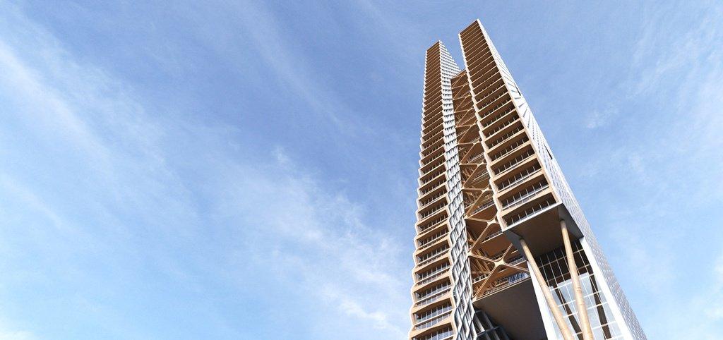 Vista desde abajo del rascacielos de madera