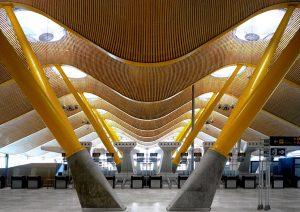 Imagen del interior de madera sinuosa