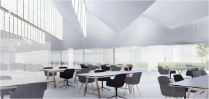 Render interior de las oficinas blancas y luminosas