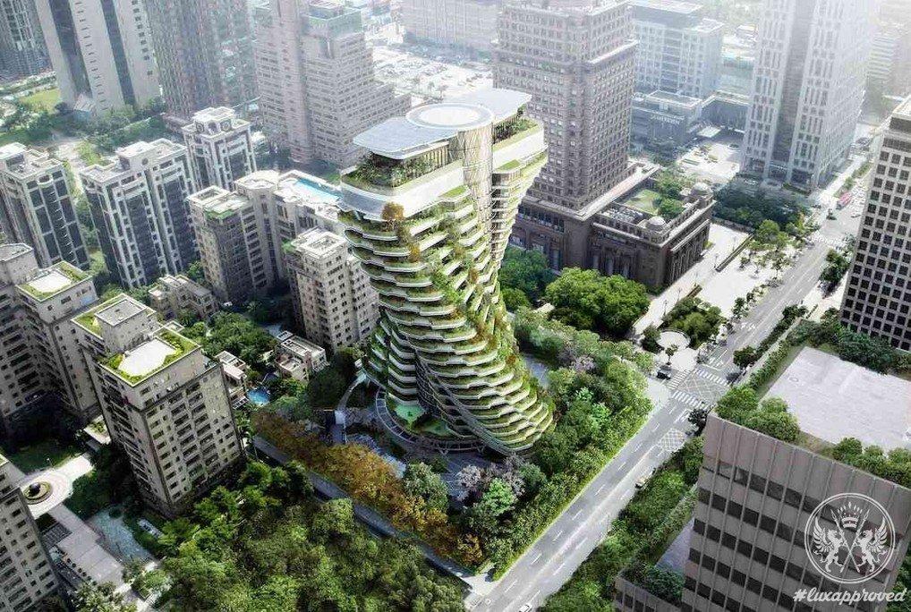 render del edificio con vegetación