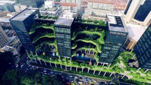Imagen de edifcio con grandes terrazas de vegetación