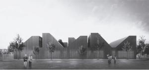 Render del edificio con jardinería exterior