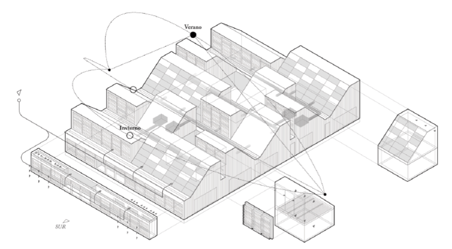 Axonometría explicativa del edificio