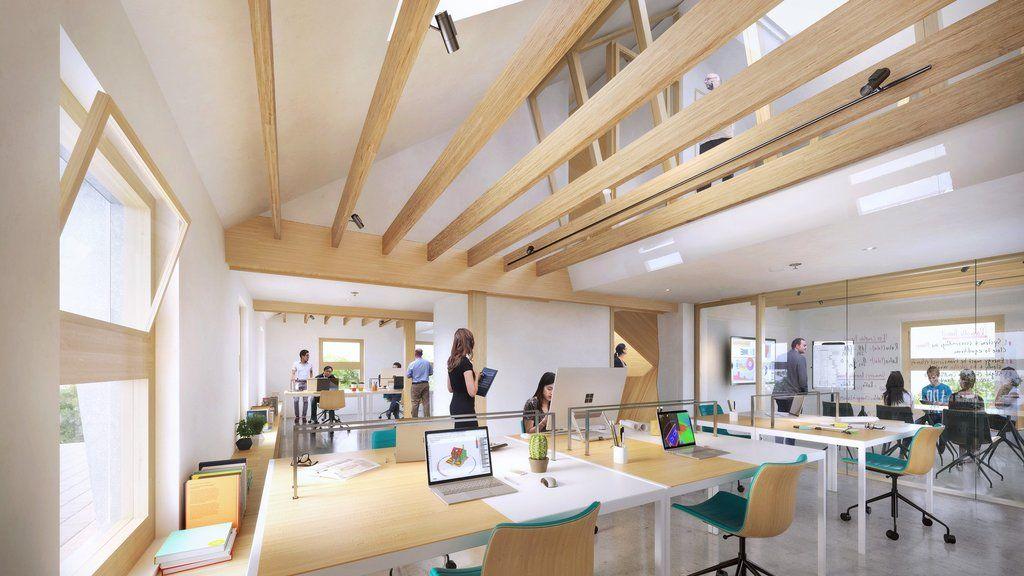 Interior de vivienda en blanco y vigas de madera. Estilo moderno.