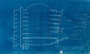 Esquemas en papel azul del Guggenheim de Nueva York