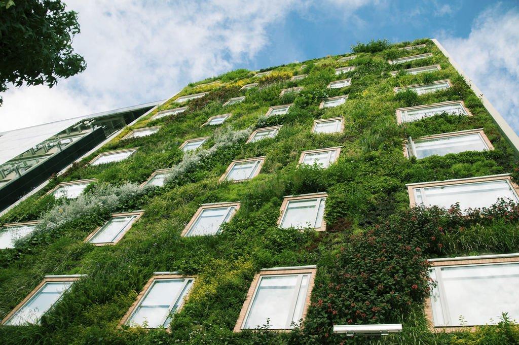 Fachada verde con vegetación.