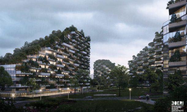 Vista de un edificio con vegetación en als fachadas y la calle arbolada