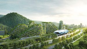 Vista de la ciudad con vegetación en las calles y en todas las plantas de los edificios