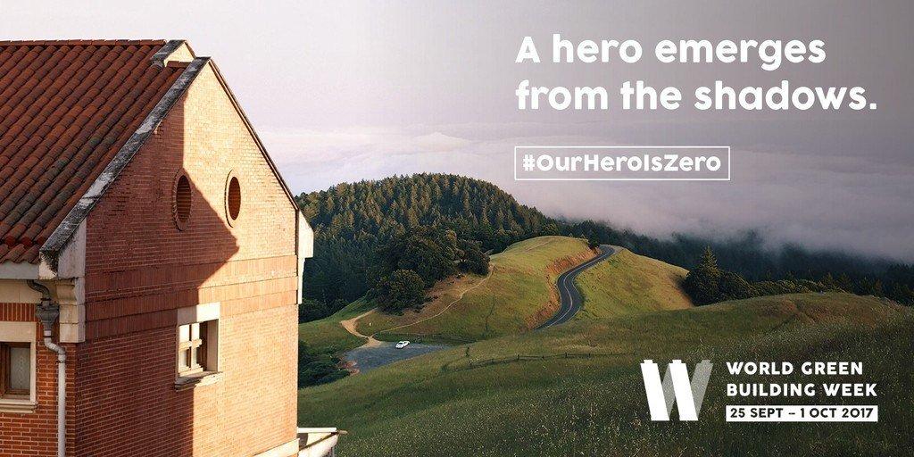 Cartel con edificio y frase ingeniosa sobre héroes