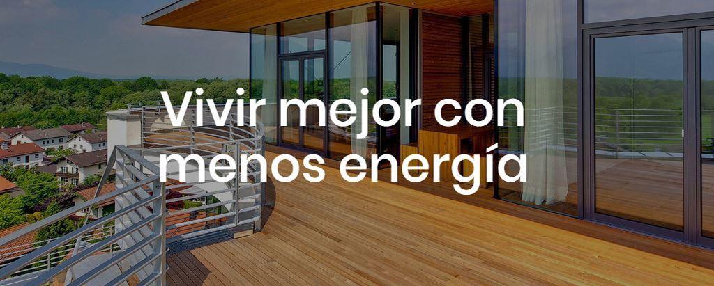 Edificio con la frase vivir mejor con menos energía