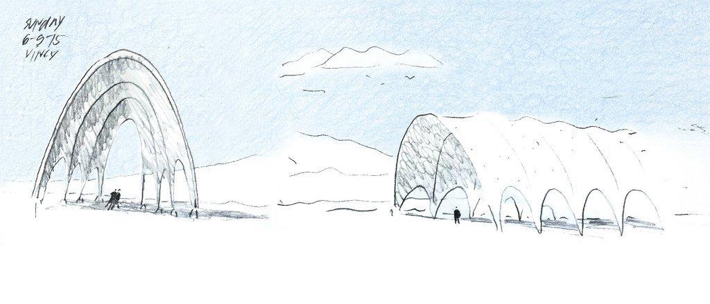 Dibujo a mano de estructuras de sombreamiento