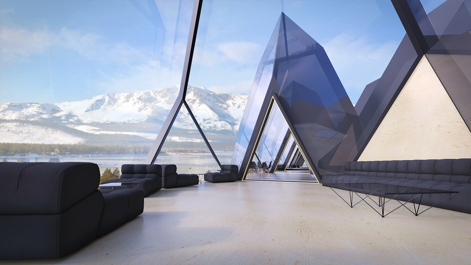 Tetra Hotel futurista interior